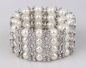 Pearl Bridal Bracelet, Stretch Bracelet, Pearl Wedding Bracelet, Silver Bracelet, Bridesmaid Bracelet, Wedding Jewelry, Rhinestone Bracelet