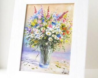 Flower art Framed painting Small flower painting Art gifts Daisy art Still life painting flowers Spring decor Gift for mother Gift for her