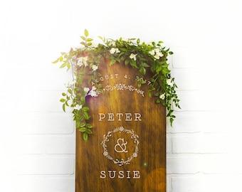 Custom Wedding Signs, Wood Wedding Sign, Couples Name Sign, Custom Wood Sign, Engagement Gift, Wedding Gift, Anniversary Gift  (GP1135-WM)