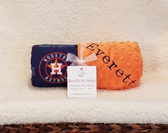 Houston Astros Baby Blanket Toddler Minky NAME Embroidered Gift Set Large Minky PERSONALIZED Baby Boy Red Sox White Cleveland Detroit Tigers