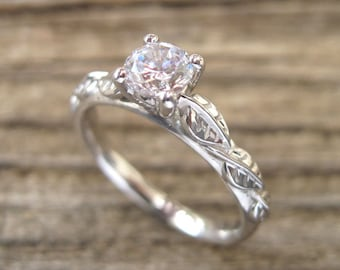 Leaf Engagement Ring, Engagement Ring, Antique Engagement Ring,  Leaf Ring, Antique Engagement Ring, White Gold And Diamond Engagement Ring