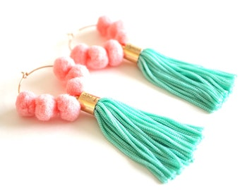 Green tassel pom pom hoop earrings for her birthday gift, rose gold colorful tassel earrings festival jewelry, boho tassel jewelry / NINA