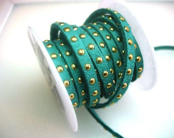 Ribbon synthetic suede with turquoise rivets
