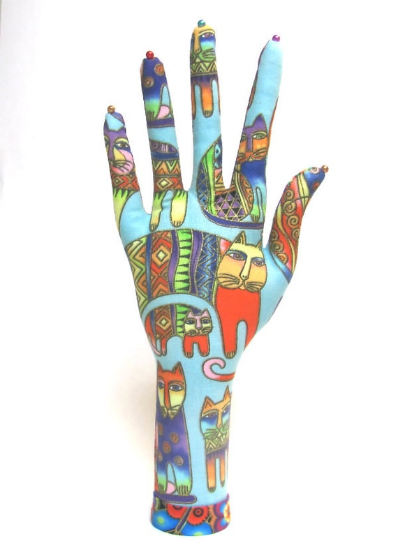CLASSIC Laurel Burch Colorful Cats & Mod Posies HAND-Stand ~ Ready to Ship