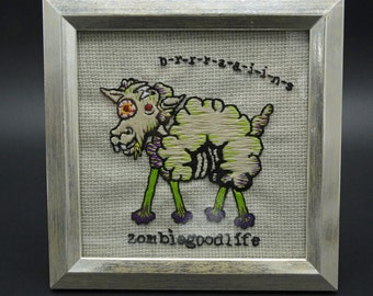 Sheep 4 Brains Framed Embroidery Zombie Gift