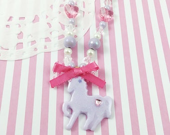 Purple Unicorn Necklace | Purple Yume Kawaii Necklace | Purple Chunky Bead Necklace | Fairy Kei Necklace | Decora Kei | Gift for Young Girl