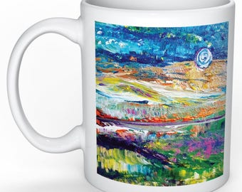 Quiet night art mug with original art by Amy Drago