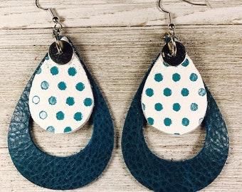 Leather earrings, Leather earrings, Teal earrings, Large earrings, Lightweight earrings, Bold earrings, Statement earrings, Drop earrings