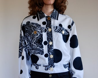 90's Versace Jeans Couture black and white baroque paisley jacket