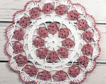 """Crocheted White Dusty Rose Table Topper Doily - 10 1/2"""""""