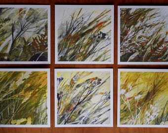 6 Blank Greeting Cards from Original Monotype Prints