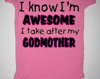 godmother baby clothing, godmother baby clothes, godmother baby gift, godmother baby creeper, godmother baby one piece, godmother baby tee