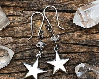 Star and Herkimer Diamond Earrings