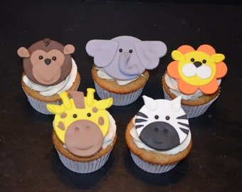 Jungle Animal Fondant Cupcake Toppers - 10