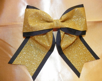 Black with Glittery Gold Hairbow