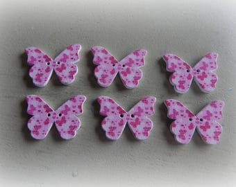 6 buttons round painted wood Butterfly - 28 * 21 mm pink pattern