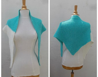 Aqua scarf, white scarf, aqua and white, turquoise scarf, triangle scarf, knit scarf, knitted scarf, summer scarf, nautical scarf, wrap