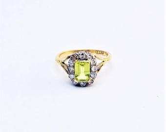 Peridot and Diamond Cluster Ring.
