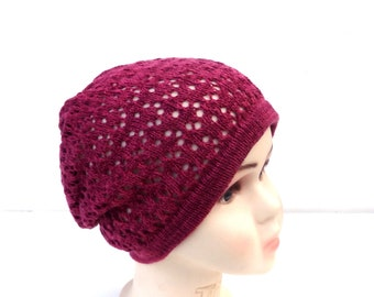 Hat, Knitted cotton hat, knit children cap, cloche, knitting slouchy hat, knit tam, knit lace baggy hat, handmade summer hat, bordo sun hat,