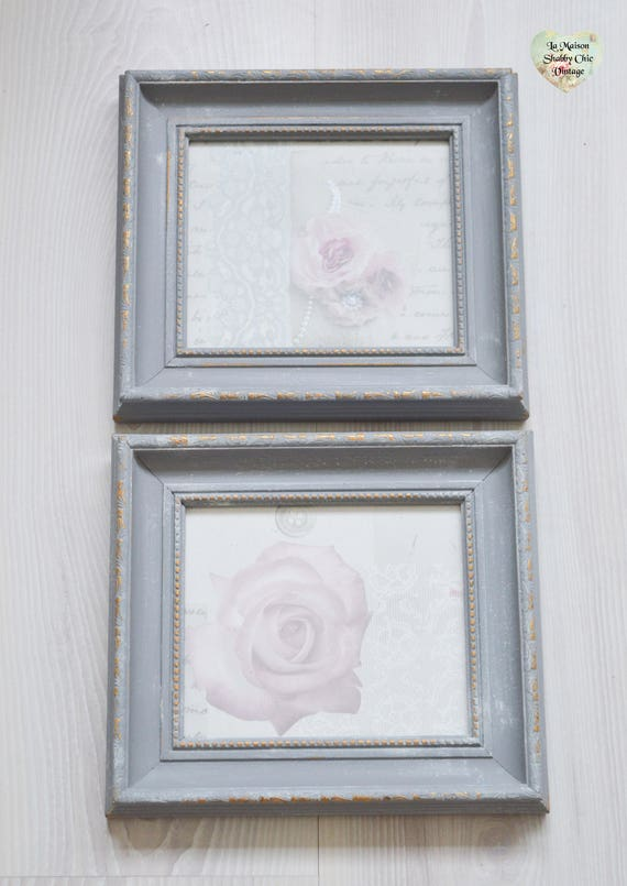 Hand Painted Pair Picture Photo Frames (2) Wooden, Grey Gold Ornate ...