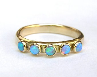 Blue Opal ring , Fine gold ring, Stackable ring , wedding bands ,14k gold ring ,Handmade engagement Ring, Anniversary Ring, gift for her