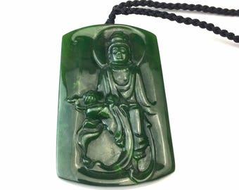 Canadian Nephrite Jade Guanyin Pendant -4628