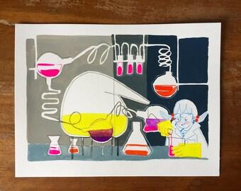 Chem Lab Gal – gouache painting