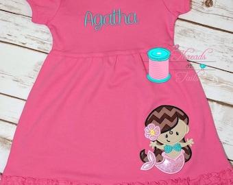 Mermaid Ruffle Dress, Mermaid Applique Dress, Personalized Dress, Summer Applique, Beach Dress