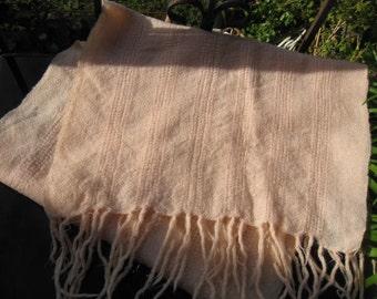 1970s silver thread shawl ~ pink with silver lurex