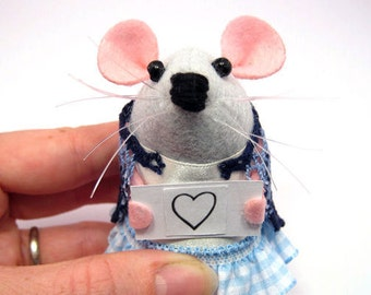 Mouse holding a sign - collectable custom message rat - Choose your own sign - gift for girlfriend wife mom mum mother's day rat – Paige
