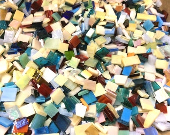 150 MOSAIC #3 GRAB BAG Stained Glass Mosaic Tiles Mix Size & Color B46