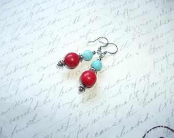 Red and turquoise howlite stone earrings