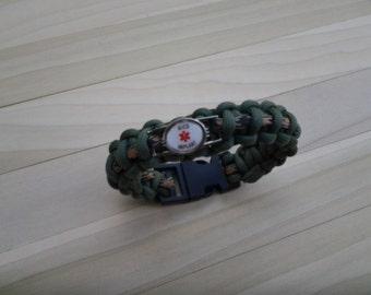Multiple Sclerosis Paracord Medical Alert Bracelet, Free Shipping,