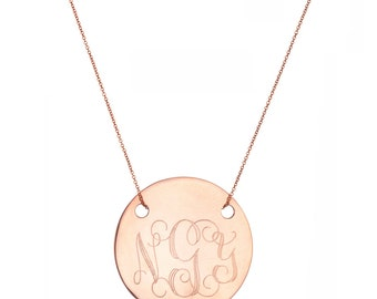 "Engraved 5/8"" Monogram necklace - personalize gold monogram necklace 18k rose gold plated 925 silver"