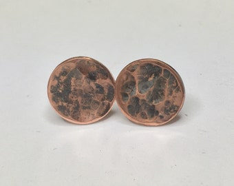 Industrial Elegance - Textured Minimalist Copper Stud Earrings in Custom Finish - Moon, Mars, Lunar Landscape, Martian, Recycle - Great Gift