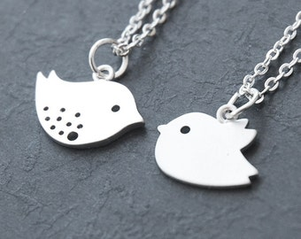 Mother and Baby Bird Necklace - (Set of 2) Best Friend Necklace, Couples Necklace   (R4B-B1)