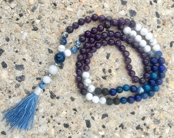 SELF-ACCEPTANCE, Anxiety, Inner Peace & Protection Essential Oil 108 MALA Reiki yoga necklace.
