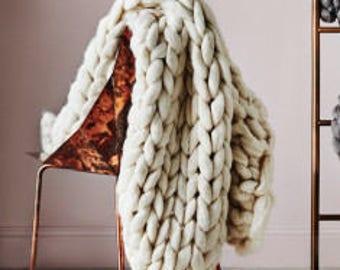 Super Chunky Knit Blanket  Chunky Merino Blanket Giant Knit Blanket 21 Micron Merino Wool   Giant Knit Blanket 50 x 50 CREAM