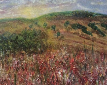 Staffordshire Moors, a mxed media textured original painting in card mount30cm x21cm