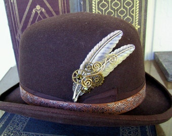 Silver Plated Brass Feather Hat Pin (HP700) Steampunk Design, Bronze Gears and Swarovski Crystals, Tie Tack