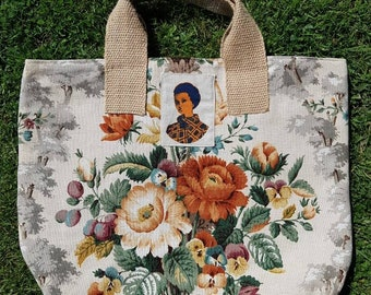 Vintage fabric market bag, recycled fabric, ditch the plastic, happy shopper