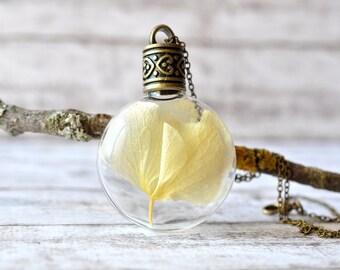 Beige Hydrangea Necklace - Terrarium Pendant Necklace - Botanical Jewelry - Flower Bottle Necklace