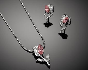 Tulip Necklace and Earring Set for girls - Swarovski Peach