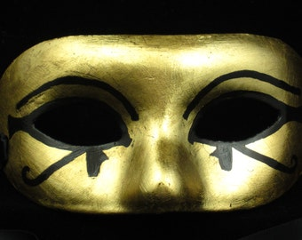 Eye of Horus Eye of Ra Mask, gold leafed paper mache masquerade mask with Egyptian eyes