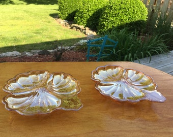 Set of two vintage Marigold Carnival Glass Clover divided candy and nut dishes