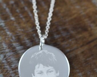 Remembrance Memorial Picture Pendant Necklace Christmas Gift Idea, Engraved Jewelry