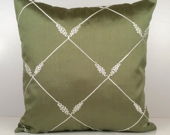 Lime Green and white Pillow, Throw Pillow Cover, Decorative Pillow Cover, Cushion Cover, Accent Pillow, Silk Blend Pillow, White Silk Detail