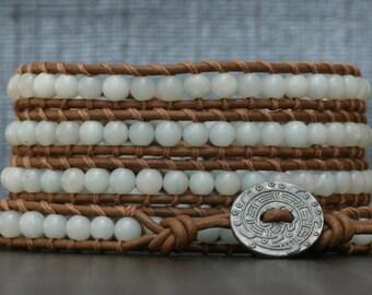 amazonite on chocolate brown leather wrap bracelet - light blue - boho bohemian gypsy western southwest - beaded