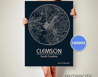 CLEMSON South Carolina CANVAS Map Clemson South Carolina Poster City Map Clemson South Carolina Art Print Clemson sc ArchTravel