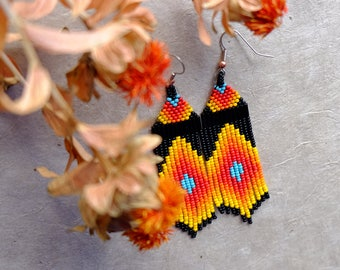 Desert Rainbow // Native American Beaded Earrings // Shoulder Duster // Fringe Earrings // Boho // Statement Earrings